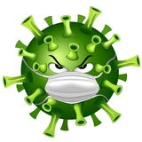 Coronavirus Evil Virus Cartoon Character with Face Mask against Covid-19 Vector illustration isolated on white.