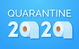 Free Coronavirus Panic 2020 Concept. Stocking Up Toilet Paper For Home Quarantine. Panic Covid-19 Outbreak. Letters And Rolls Stock Image - 175963401