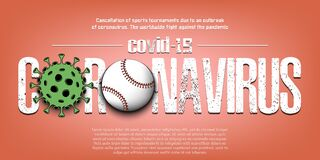 Coronavirus. Coronavirus sign with baseball ball