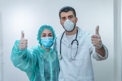 Free Coronavirus. Thank You Doctors And Nurses Working In The Hospitals And Fighting The Coronavirus. Doctors Are Heroes. Doctors In Th Stock Photography - 177680242