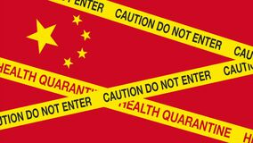 Coronavirus threat from China. Animation movie show Chinese flag with yellow barricade tape saying Caution do not enter and Health