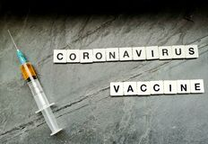 Coronavirus vaccine with syringe on black background