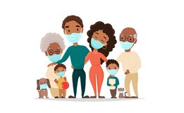 Coronavirus in whole world. African black family in medical face mask.