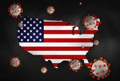 Free Coronavirus With USA Map COVID-19 Pandemic United States Of America Lock Down Virus Spread Across United States 3D Illustration Royalty Free Stock Photos - 181394788
