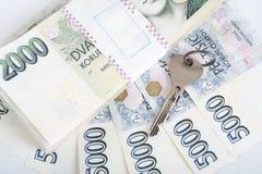 Corone ceche delle banconote Fotografie Stock Libere da Diritti