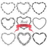 Corone d'annata rustiche disegnate a mano del cuore Grafico di vettore floreale Fotografia Stock Libera da Diritti