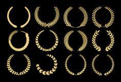 Corone dell'alloro dell'oro illustrazione di stock