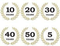 Corone dell'alloro di anniversario illustrazione vettoriale