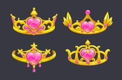 Corone dorate di principessa del fumetto messe Fotografia Stock