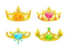 Corone dorate di principessa del fumetto messe Fotografie Stock Libere da Diritti