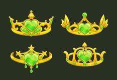 Corone dorate di principessa del fumetto messe Fotografie Stock