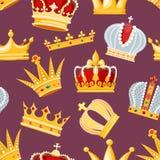 Corone el s?mbolo real de oro de la joyer?a del vector de la muestra del ejemplo de la reina y de la princesa del rey del sistema stock de ilustración