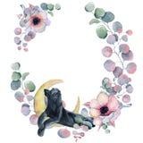 Corone floreali dell'acquerello con la pantera nera Immagini Stock Libere da Diritti