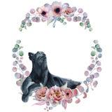 Corone floreali dell'acquerello con la pantera nera Immagine Stock Libera da Diritti