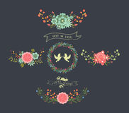 Corone floreali naturali della lavagna royalty illustrazione gratis