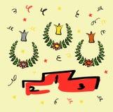 Corone per i vincitori, la corona ed il piedistallo Fiori e serpentina Disegni divertenti nello stile di uno schizzo illustrazione vettoriale