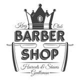 Corone y dos maquinillas de afeitar, etiquetas del vintage de la peluquería de caballeros, insignias, o emblemas Foto de archivo libre de regalías