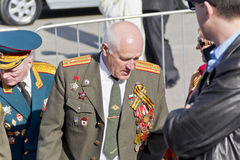 Coronel do russo na celebração na parada na vitória anual D Foto de Stock