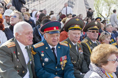 Coronel do russo na celebração na parada na vitória anual D Imagem de Stock