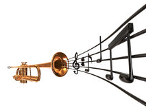 Coronet & Notes. Brass cornet at slight angle with a curved music score blowing out the horn on white background Stock Photography
