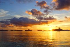Corong corong beach during sunset. El Nido Royalty Free Stock Photo