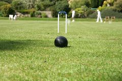 Coroquet game. On the croquet lawn the Black ball is infront of the hoop royalty free stock image
