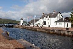 CORPACH, SCOTLAND/UK - 5月19日:在Corpach的古苏格兰运河s的 图库摄影