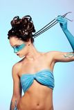 Corpo-arte dell'azzurro di fantasia della ragazza Fotografia Stock