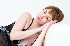 Corpo-bella giovane donna caucasica attraente sexy Fotografia Stock Libera da Diritti