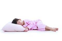 Corpo cheio Conceito saudável das crianças Peacefu asiático do sono da menina Imagem de Stock