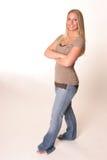 Corpo cheio das calças de brim adolescentes Fotografia de Stock