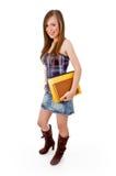 Corpo cheio do estudante novo de sorriso com livros Imagem de Stock