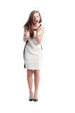 Corpo completo de uma mulher que grita Imagem de Stock Royalty Free