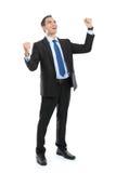 Corpo completo do homem de negócios gesticulando bem sucedido muito feliz fotos de stock royalty free