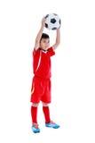 Corpo completo do jogador de futebol asiático com futebol Tiro do estúdio Iso Foto de Stock