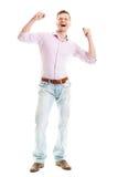 Corpo completo isolato uomo felice Immagini Stock