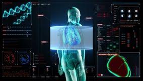Corpo da exploração Pulmões humanos de giro, diagnósticos pulmonars no painel da indicação digital Luz azul do raio X filme