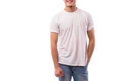 Corpo del giovane sulla camicia bianca Immagine Stock Libera da Diritti