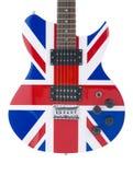 Corpo della chitarra elettrica con la bandierina britannica Fotografie Stock Libere da Diritti