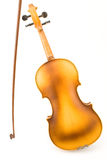 Corpo della parte di vecchio violino con l'arco immagini stock libere da diritti