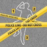 Corpo di contorno della scena del crimine con gesso royalty illustrazione gratis