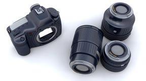Corpo e lentes de câmera de Digitas SLR ilustração royalty free