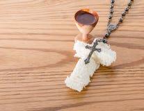 Corpo e sangue de Cristo. Relembrança Jesus do vinho do pão Fotos de Stock Royalty Free