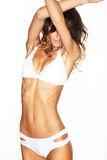 Corpo fêmea bonito Mulher nova 'sexy' na cuecas preta Foto de Stock