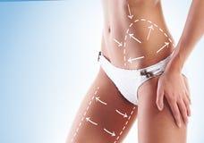Corpo fêmea com as setas do desenho nele Foto de Stock Royalty Free