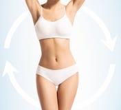 Corpo magro das mulheres no roupa de banho com setas Imagem de Stock Royalty Free