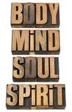 Corpo, mente, soull e espírito no tipo de madeira Fotografia de Stock