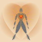 Corpo umano con grande cuore che irradia i raggi di indicatore luminoso illustrazione di stock