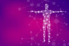 Corpo umano con il DNA delle molecole Medicina, concetto di scienza e tecnologia Illustrazione royalty illustrazione gratis