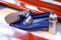 Corporate accessories. Blue Shoes Tie Car keys and Cologne Royalty Free Stock Photo